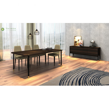 Dark Wenge Dining Sets Metal Frame