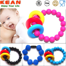 Supply for Rubber Silicone Baby Teething Bracelets FDA Approval Non-toxic Chewable Food Grade Silicone Bangle export to South Korea Manufacturer