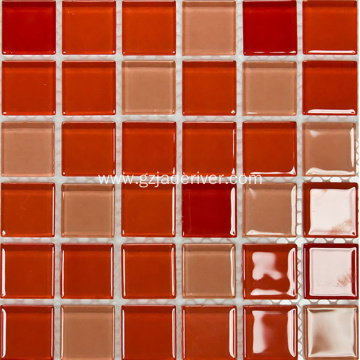 Red Tan Mix Motsaic Crystal Glass