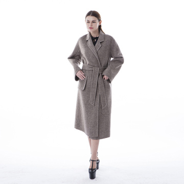Double-sided medium-length cashmere overcoat