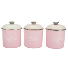 Set 3 Tin Tea sugar coffee canister metal