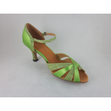 Green satin salsa shoes womens