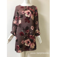 satin chiffon printed dress