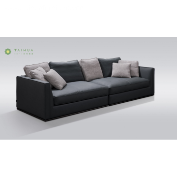 Metal Frame 4 Seater Sofa With Leather Cushion