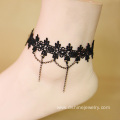 Black Lace Anklet With Chains Women Ankle Bracelet Wholesale