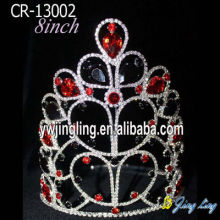 Red Rhinestone Chunky Stone Large Pageant Crowns