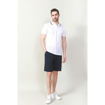 MEN'S WHITE COLOR RIB COLLAR SOLID POLO