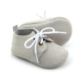Pure Colors Real Leather Grey Baby Oxford Shoes