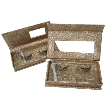 Gold Glitter Paper Eyelash Packaging Box
