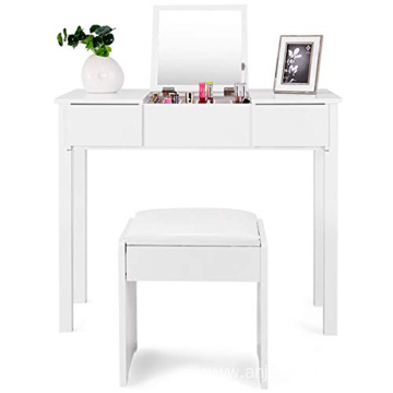 White Bedroom Furniture Dresser Vanity Makeup Dressing Table with Flip Top Mirror 2 Drawers & 3 Removable Organizers