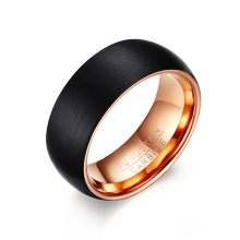 Black rose gold 8mm brushed tungsten wedding band
