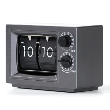 Small Television Gray Flip Clocks with Light