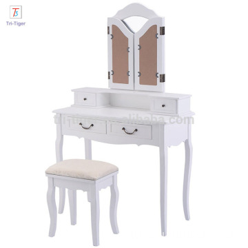 Folding Mirror white Wood Bathroom Vanity Set Makeup Table Dresser 4 Drawers with stool