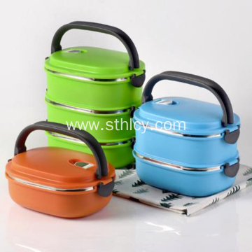 Student Stainless Steel Insulated Lunch Box Double Bowl