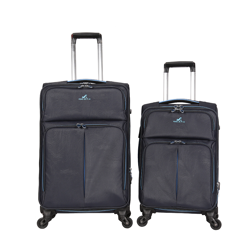 soft fabric suitcase carry on type trolley luggage