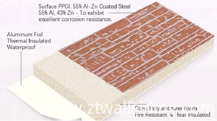 Insulated PU Metal Decoration Sandwich Panel