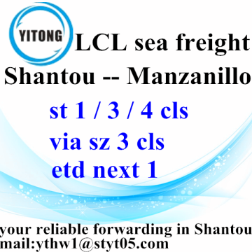 Shantou to Manzanillo LCL Container Sea Shipping