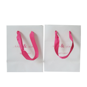 Ribbon Handles Shopping Use Coated Paper Bag