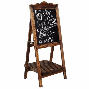 Torched Wood Chalkboard Sign with Display Shelf, Freestanding Easel Message Board