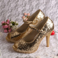 Ladies Gold Glitter Evening Shoes Mary Jane