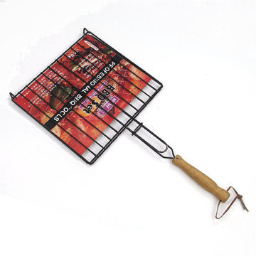 Non-stick grill rack with wooden handle