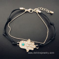 Hamsa Hand Bracelet Charms Evil Eye Chain Leather Bracelet