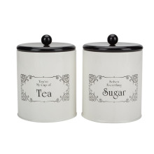 White tea sugar coffee canister set for kitchen