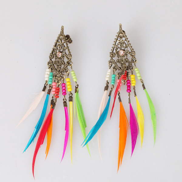 Rainbow Feather Earrings For Kids