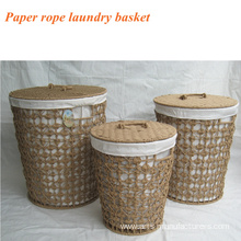 Round Paper Rope Weaving Laundry Basket