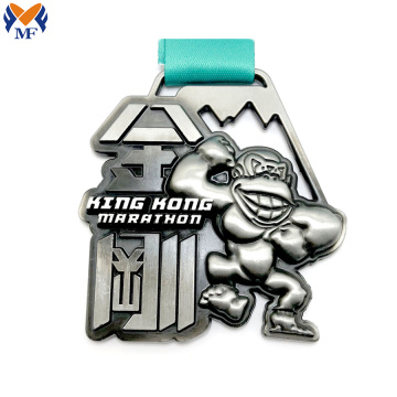 Custom silver metal race king kong medal