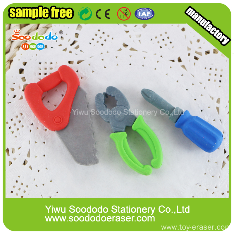 Hotsale In Stock 3D Tool Shaped Erasers For Promotion