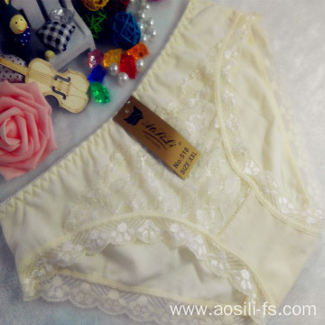 OEM wholesale China cheap light yellow sexy comfortable lace cotton fancy underwear 518