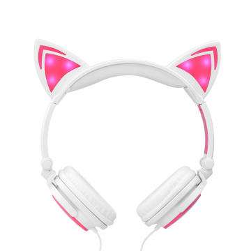 Hot Selling Light Up Cat Ear Wired Headphones