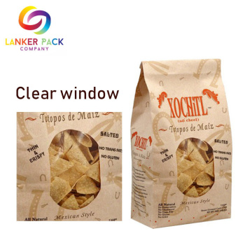 Flat Bottom Food Packaging Paper Bags With Window
