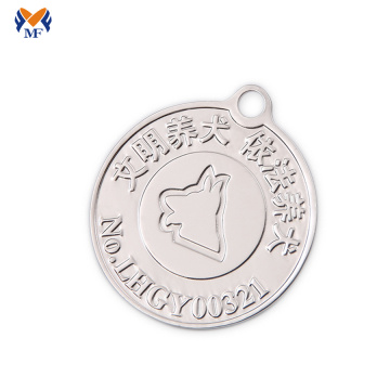 Silver metal pet award medallions
