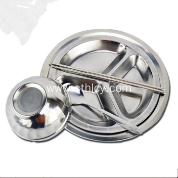 Round Shape Three Compartment Stainless Steel Plate