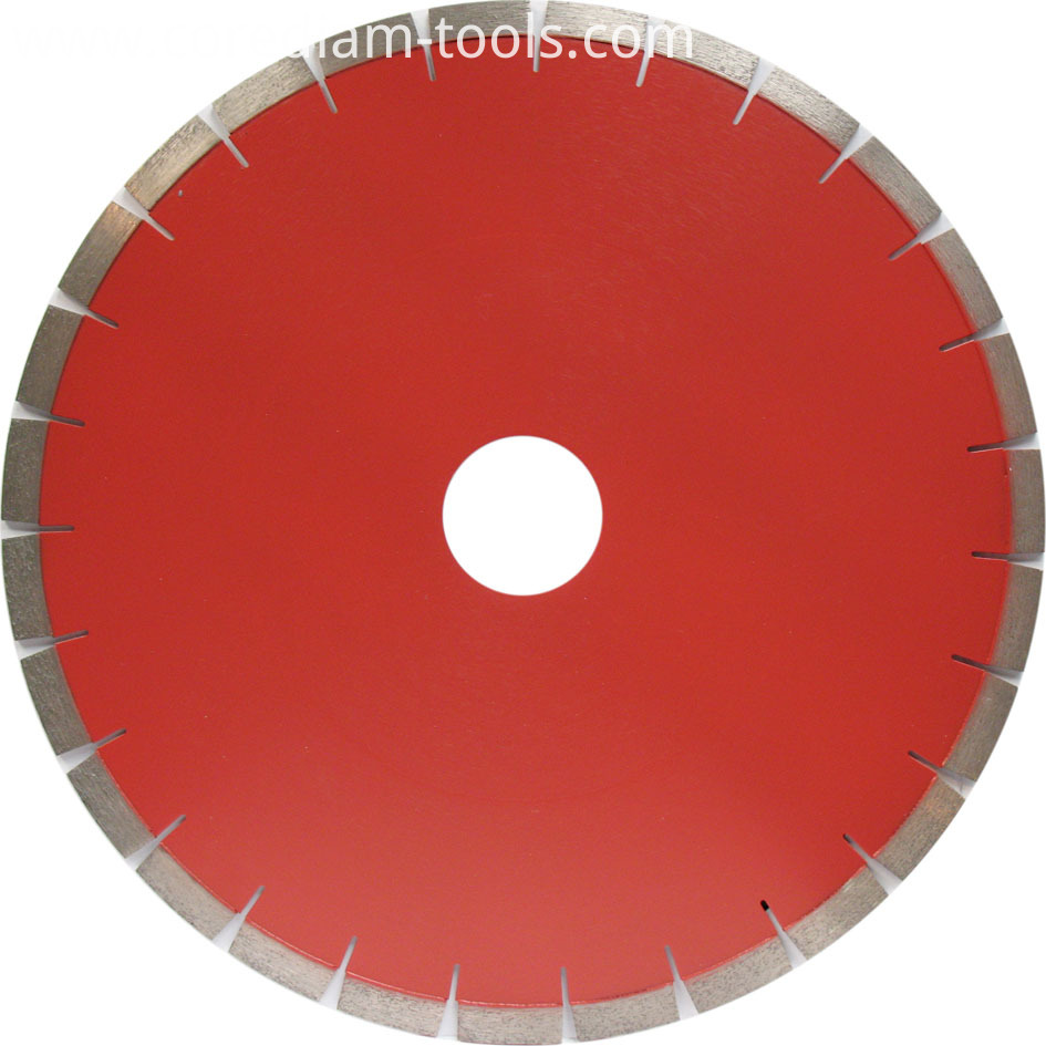 Laser welded segmented granite saw blade
