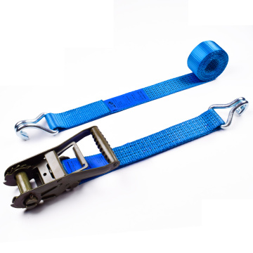 "2"" 6000kgs 50mm Heavy Duty Ratchet Buckle Tie Down Blue Straps With 2 Inch Double J Hooks"