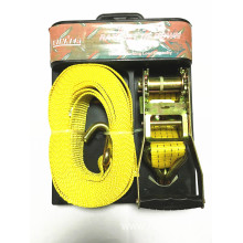 High Quality for Cargo Tie Down Straps Packaged Ratchet Tie Down Yellow Lashing Belt with 4540KGS supply to Israel Importers