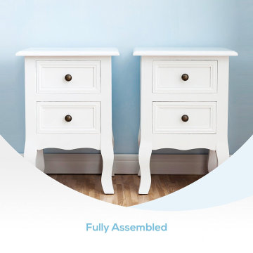 OEM/ODM for Bedroom Nightstands Modern Paulownian Wood MDF adjustable Bedside Table Pair of Wood Chic Bedside Table 2-Drawers Cabinet Nightstand - White export to Martinique Wholesale