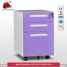 Purple Drawers Metal Mobile Pedestal