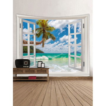 Tapestry Wall Hanging Windows Beach Sea Series Tapestry Tropical Style Tapestry for Bedroom Home Dorm Decor