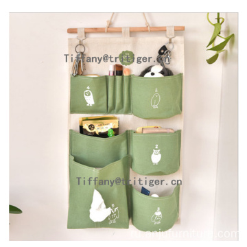 Linen Cotton Fabric Wall Hanging storage organizer with 6 pockets