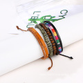 Rainbow Leather Bangle Jewelry Wooden Bead Bracelet For Girl