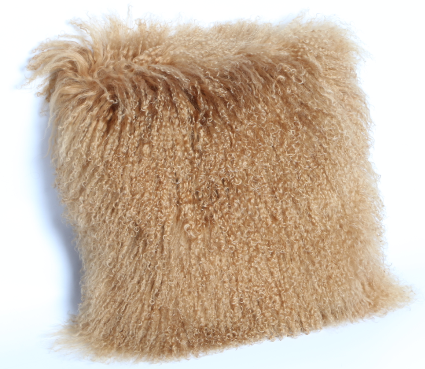 Long Curly Hair Mongolian Lamb Fur Pillow