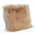 Mongolian Sheepskin Cushion in Dark Beige
