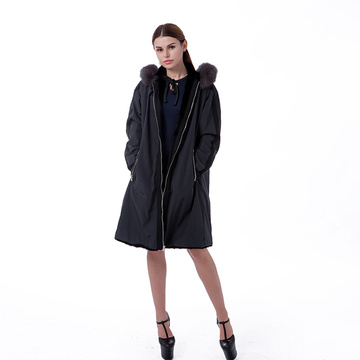 Black fur cashmere winter coat
