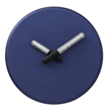 Blue Leather Hanging Clock With LED Light