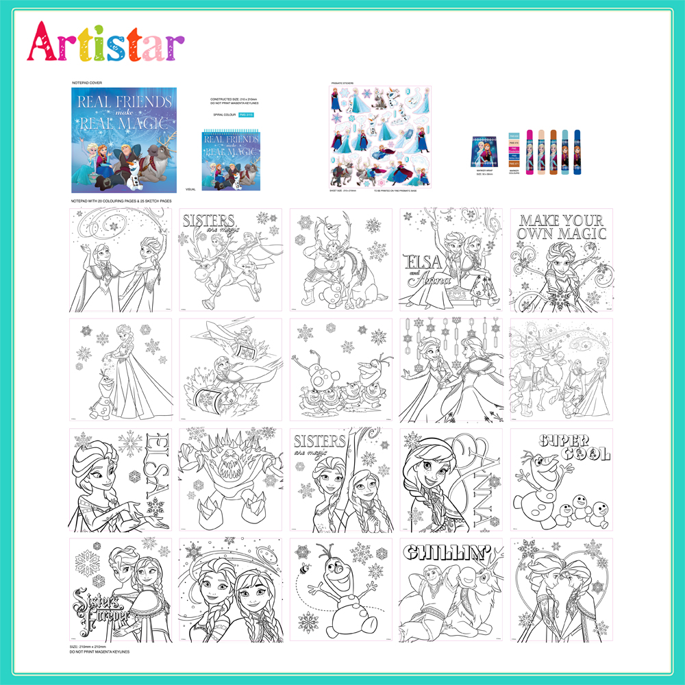 Disney Frozen Stick Colour Sketch Attractive Art Set 2