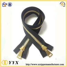 2017 wholesale highly gold two way metal zipper